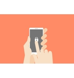 Hand holding smartphone with one finger over vector image vector image