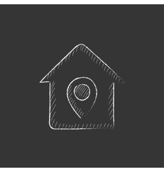 House with pointer drawn in chalk icon vector