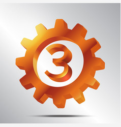 Number 3 bronze gear vector