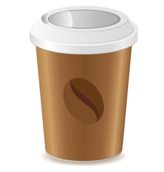 paper cup with coffee isolated on white background vector image vector image