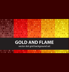polka dot pattern set gold and flame seamless vector image vector image