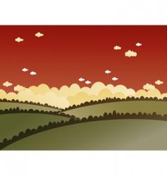 red sky landscape vector image vector image