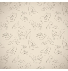 Seamless womans stylish shoes sketch pattern vector