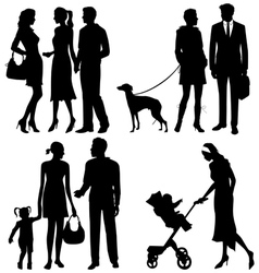 several people on the street - silhouettes vector image vector image