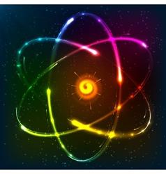 Shining neon atom model vector