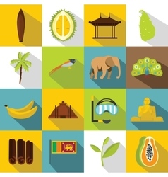 Sri lanka travel icons set flat style vector