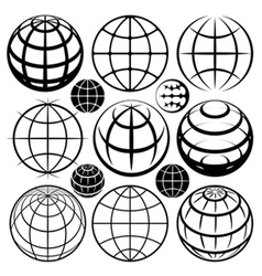 Globe signs and icons set vector