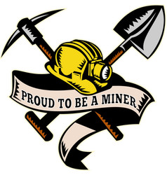 Coal miner hat shovel spade pickax mining vector