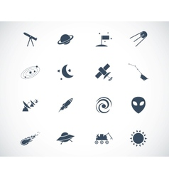Black space icons set vector