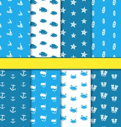 Set Seamless Pattern with Nautical Elements vector image