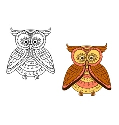 Cartoon brown owl bird with striped body vector