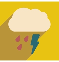 Flat with shadow icon and mobile application rain vector