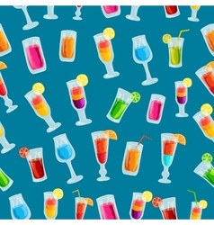 Colorful cocktail drink seamless pattern template vector
