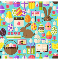 Happy easter flat design blue seamless pattern vector