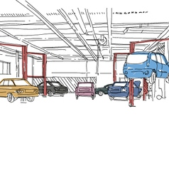 Auto service interior design vector