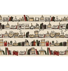 Seamless pattern with books on bookshelves sketch vector