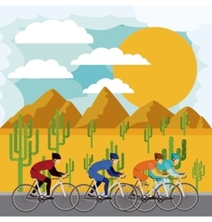Cycling race with beautiful landscape background vector