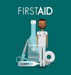 Afroamerican man doctor sthetoscope first aid vector