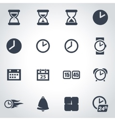 black time icon set vector image
