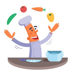 Cartoon chef juggles vegetables vector image vector image