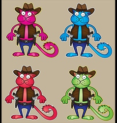 Cartoon cowboy cat with gun vector