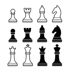Chess Pieces Including King Queen Rook Pawn Knight vector image