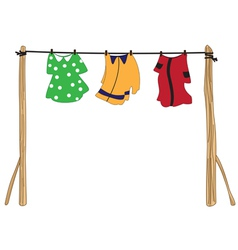 Clothes on a rope vector