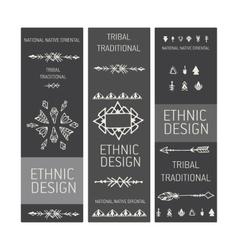 Collection of tribal boho folk vinatge tickets vector