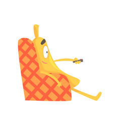 Cute funny banana sitting on armchair and watching vector