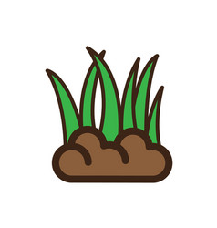 Flat color grass icon vector