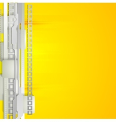 Grey and yellow technology background vector
