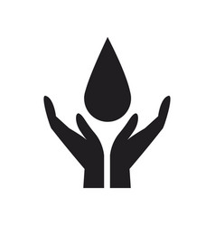 Hands cupped support drop of water symbol vector