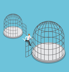 Isometric businessman leave small cage go to the vector