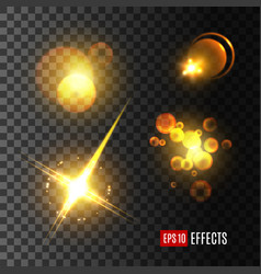 light effect set of golden glitter star sun beam vector image vector image