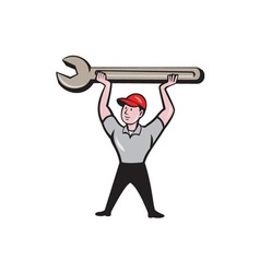 Mechanic Lifting Wrench Isolated Cartoon vector image vector image