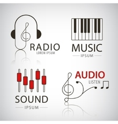 Musical logos and icons set of design vector