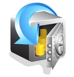 Open bank safe with golden coin vector