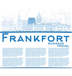 Outline frankfort skyline with blue buildings vector