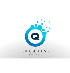 Q letter logo blue dots bubble design vector
