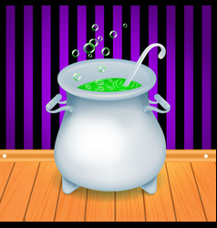 realistic halloween witch s cauldron pot with vector image vector image