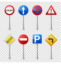 road signs collection isolated on transparent vector image vector image