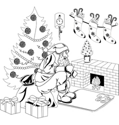 Santa Claus sits by the fire vector image