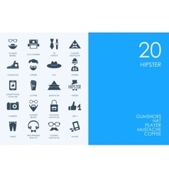 Set of blue hamster library hipster icons vector