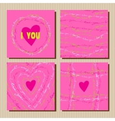 Set of cards with pink valentines day design vector