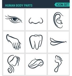 Set of modern icons Human body parts eyes vector image