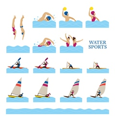 Sports athletes water sports people action set vector
