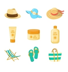 Sun creams hats beach accessroies vector