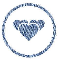 Valentine hearts rounded fabric textured icon vector