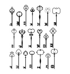 Vintage antique keys black silhouettes isolated vector
