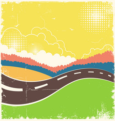 Vintage nature background with road on old paper vector